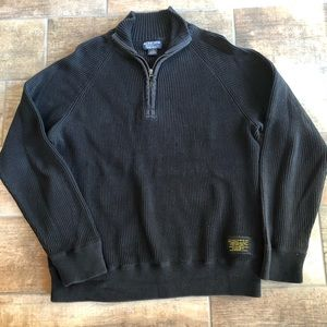 Polo Jeans Company Black Robbed 1/4 Zip Pullover L
